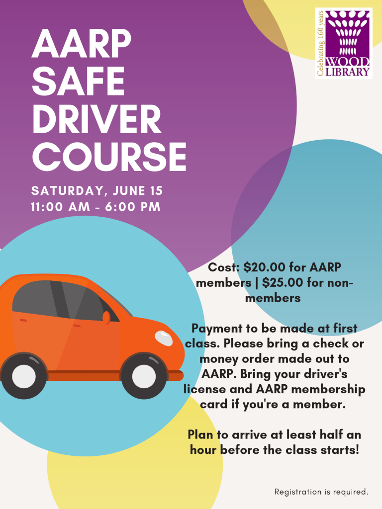 AARP Safe Driver Course poster featuring a red cartoon car, randomly placed colored circles, and the event description